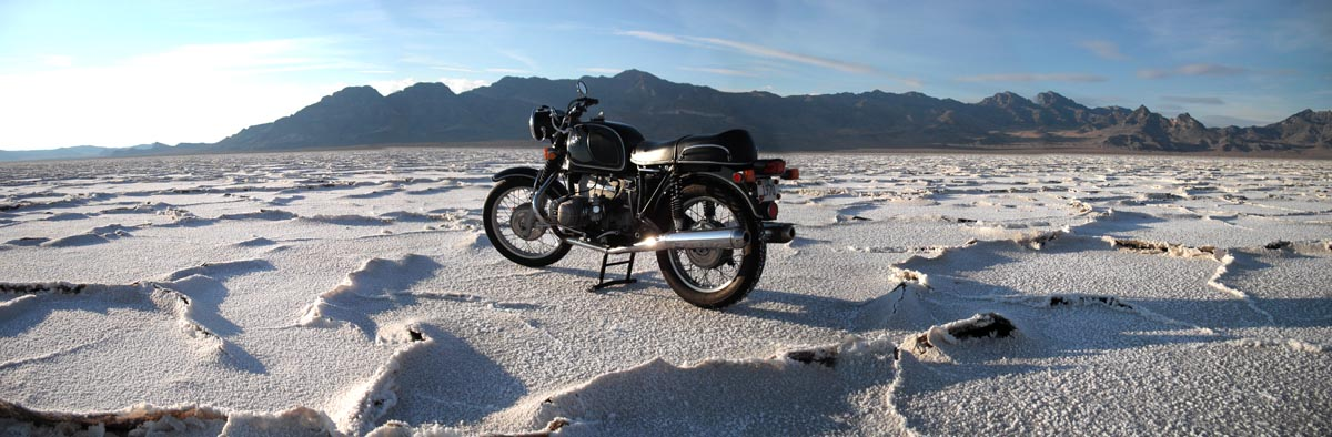 A 1970 BMW R 75/5 to the northwest of the race course